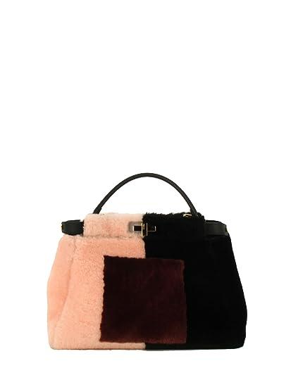 2f70ddf797 Fendi Women's 8Bn2905cmf0710-Mcf Black/Pink Leather Handbag: Amazon.co.uk:  Clothing