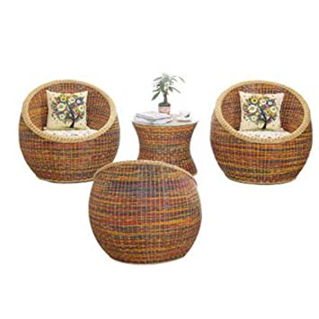Amazon.com: DELOVE Small Coffee Table Cane Chair Set - Balcony Table ...