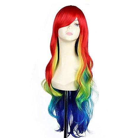 Wincy Shop Peluca larga onda, diseño de arcoíris