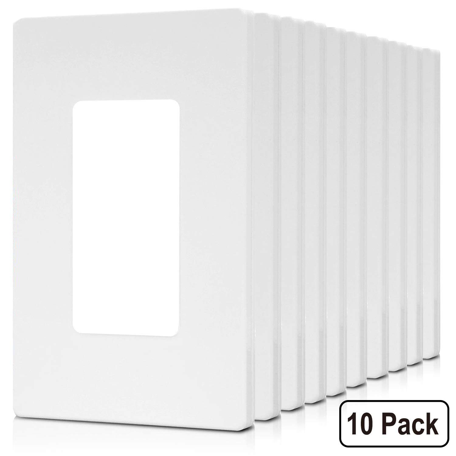 [10 Pack] BESTTEN Screwless Wall Plates, 1 Gang Standard Outlet Covers without Visible Screws, Compatible with Light Switch, GFCI, Decor and USB Receptacle, Unbreakable PC, UL Listed, White