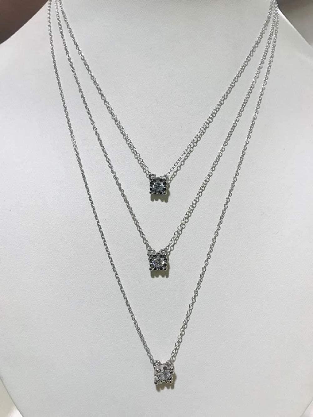 Silvercartvila 5mm D//VVS1 Solitaire Pendant Necklace with Diamond Accents In .925 Sterling Silver