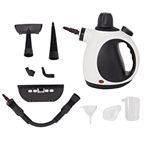 Dporticus Multi-Purpose Big Capacity Handheld Steam Cleaner with 9-Piece Accessory Set For Stain Removal,Surface Cleaning and More (White)