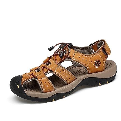 9a85d6623 Sandalias Hombre Deportivas Cuero Senderismo Playa Impermeables Cerradas  Planas Trekking Zapatos Agua Piscina Verano Scarpe Negro Marrón 37-47:  Amazon.es: ...