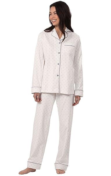 PajamaGram - Oh-So-Soft - Pijama de Estilo Masculino para Mujer - Lunares