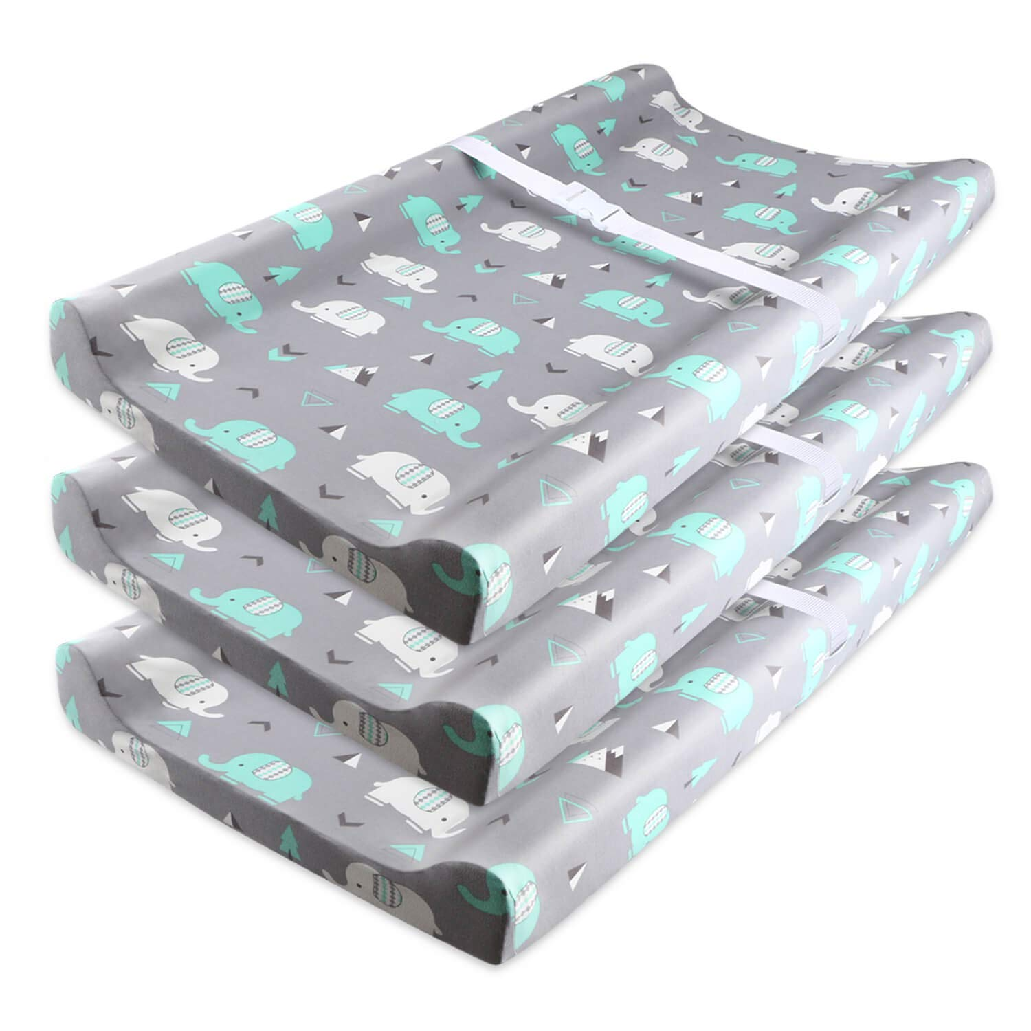 Stretch Fitted Changing Pad Cover, Breathable Semi-Waterproof Diaper Change Pad Covers Set Elephant Super Soft Baby Changing Table Pad Sheet with Strap Holes for Infants Boys Girls 3 Pack