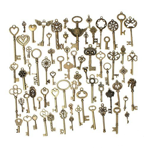 KING DO WAY 69pcs Antique Bronze Vintage Skeleton Keys Charm Set DIY Handmade Accessories Necklace Pendants Jewelry Making Supplies for Wedding Decoration Birthday and Christmas -