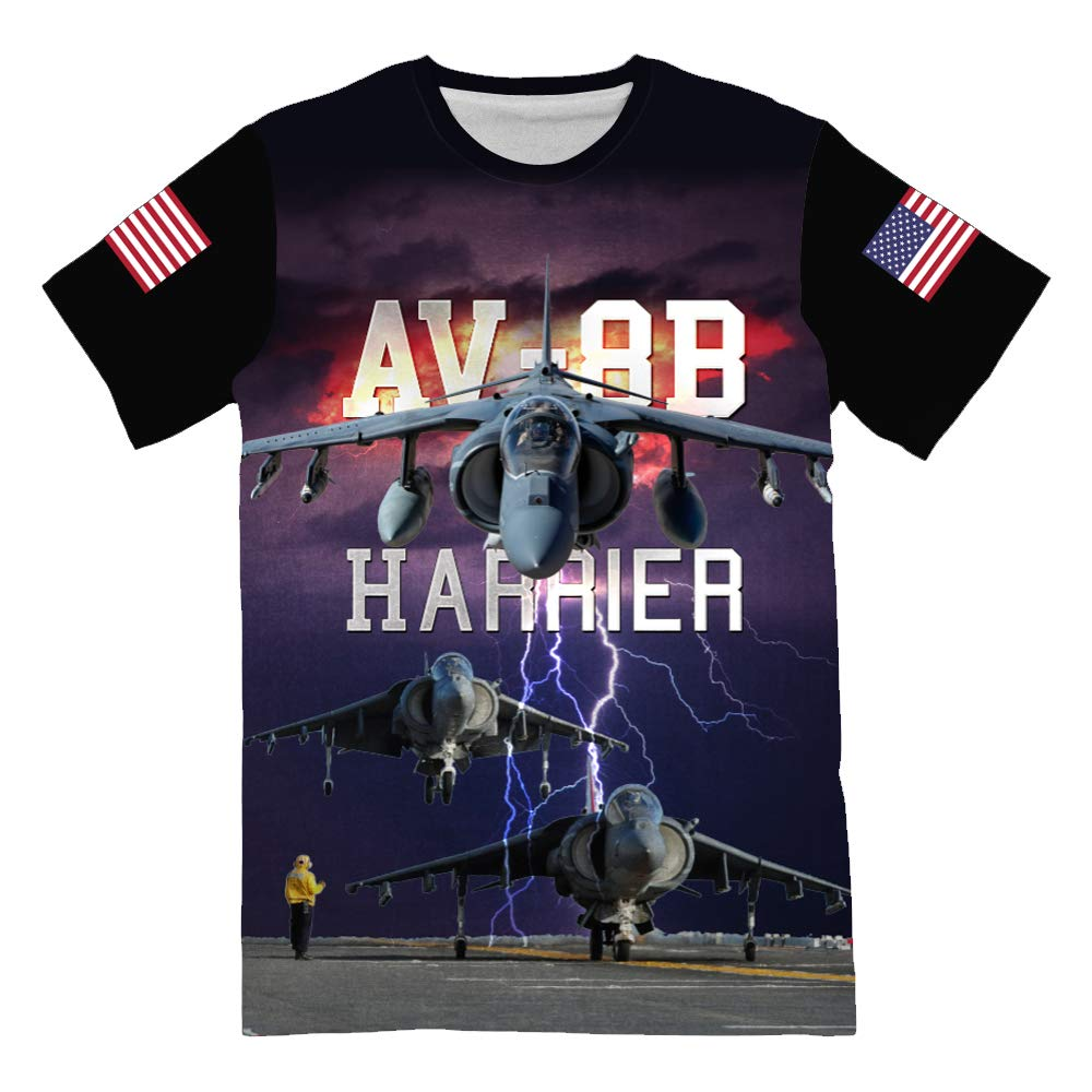 NIWAHO USMC AV-8B Harrier T-Shirt for Mens 3D Allover Printed Military Lover Tees by NIWAHO