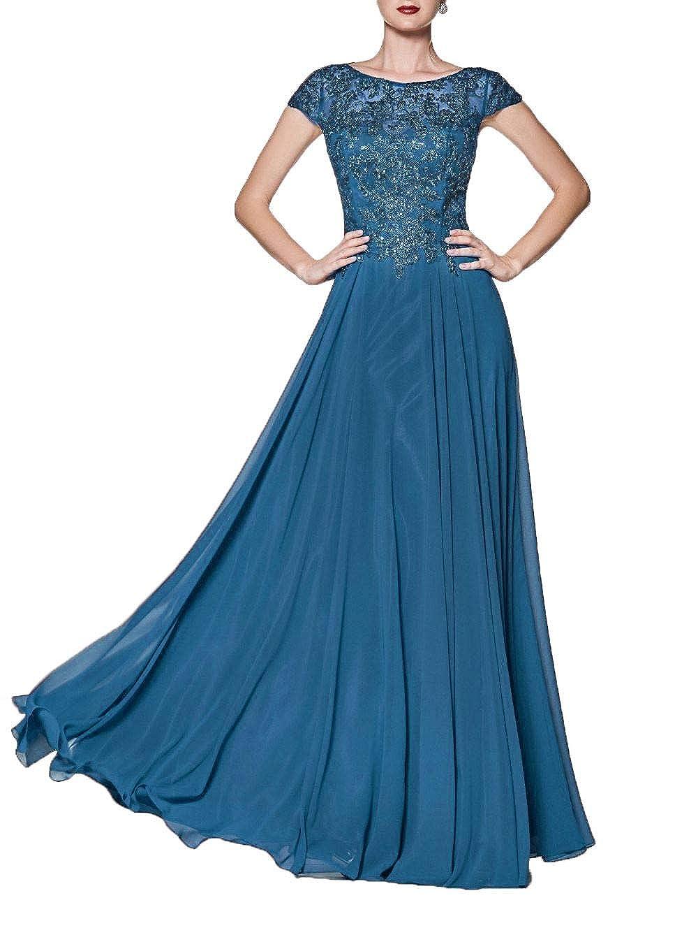 bluee Wanshaqin Women's Illusion Neckline Jeweled Waist Long Evening Gown Prom Formal Dress Bridesmaid Gown