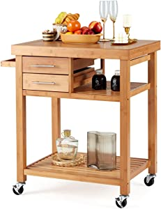 EROMMY Rolling Bamboo Wood Kitchen Island Cart, Multi-Purpose Kitchen Trolley Cart on Wheels, Rolling Kitchen Cart with Drawers, Open Storage Shelves, Towel Rack, Locking Casters