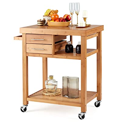 Buy Erommy Rolling Bamboo Wood Kitchen Island Cart Multi Purpose Kitchen Trolley Cart On Wheels Rolling Kitchen Cart With Drawers Open Storage Shelves Towel Rack Locking Casters Online In Hong Kong B08pbv6h71