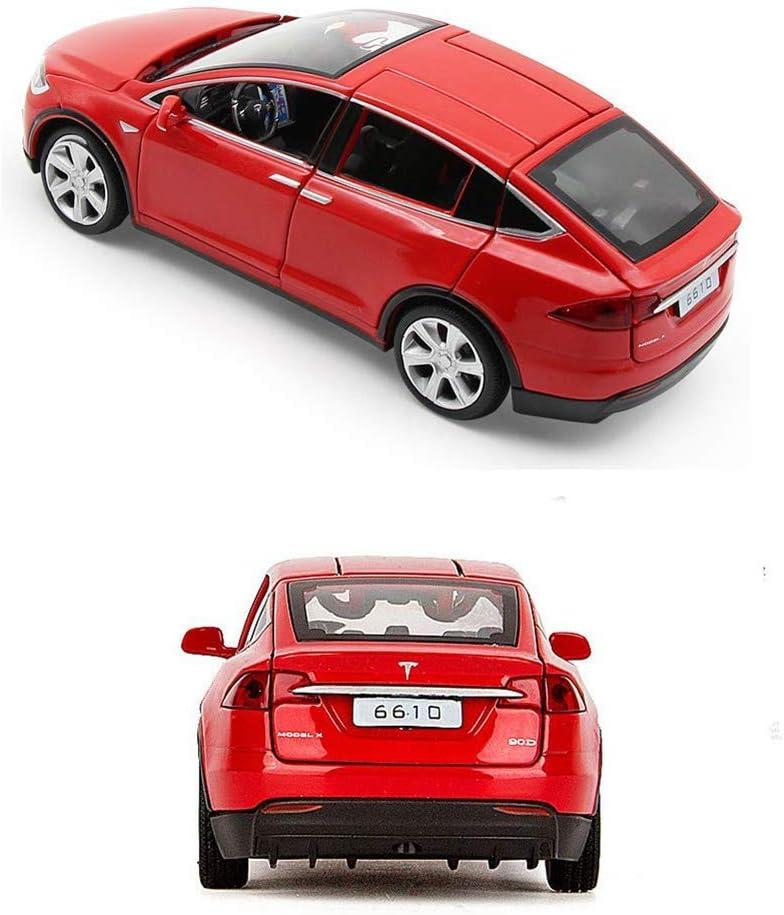 EisEyen Auto-Model f/ür Tesla X 90 1:32 Autolegering mit Ton und Licht auch als Spielzeugauto mit R/ückziehfunktion f/ür Kinder Geschenk