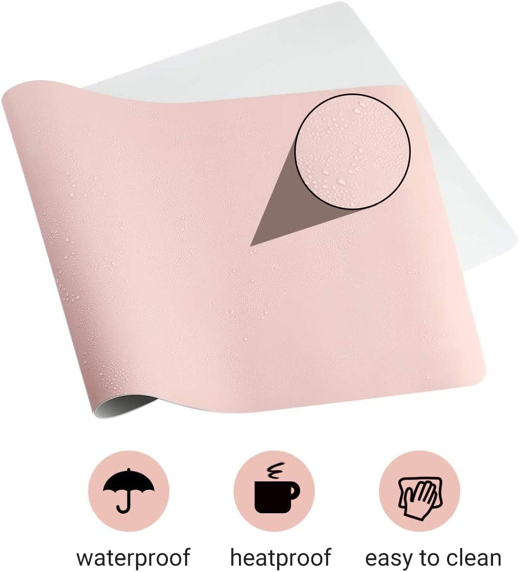 Office Desk Mat Writing Gaming Mouse Pad with Comfortable Writing Surface Waterproof-Pink 140x70cm versionb Pu Leather Desk Blotter 55x28inch