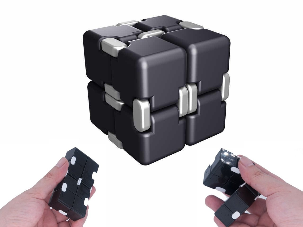 Infinity Magic Cube EDC Toy - Fidget Rubiks Cube Pressure Reduction Toys, 8 Block of Spining Cube Fidgeting, Killing Time Toys Infinite Cube For ADD, ADHD, Anxiety, Autism, Plastic, Black For Ideahome