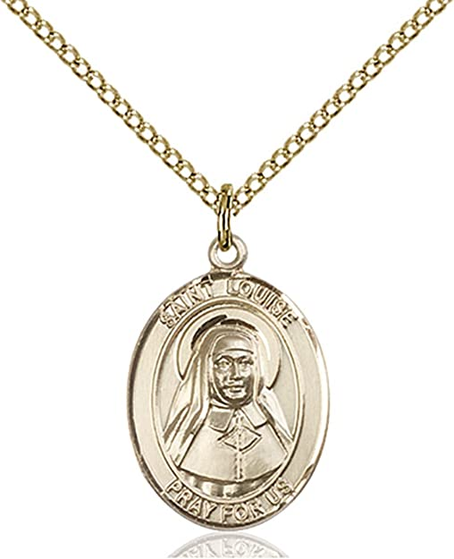 Oval or Sterling Silver PicturesOnGold.com Saint Lucian Religious Medal Available in Solid 14K Yellow or White Gold