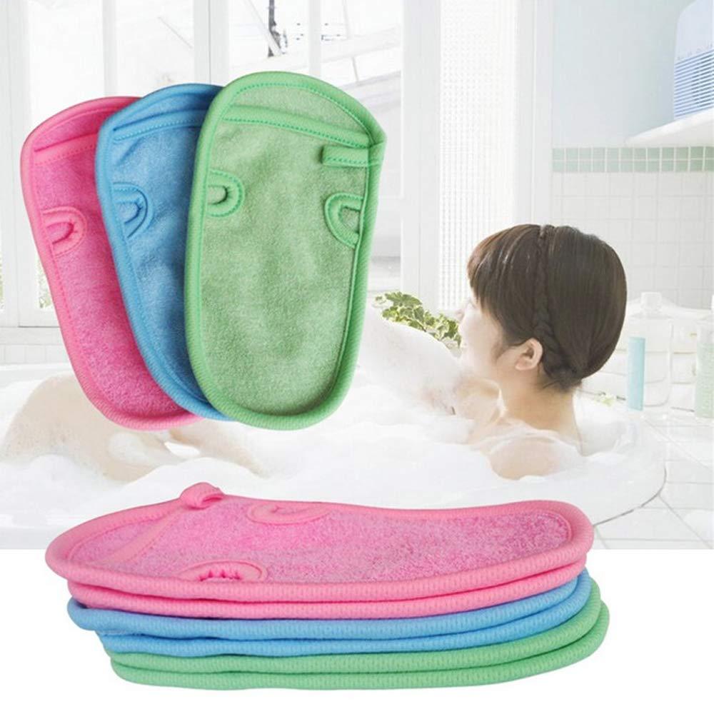 2 PCS Shower Bath Gloves Natural plant fiber Bath towel Body Scrubber for Unisex Children Adult Shower(blue+pink) SlienceTiMe
