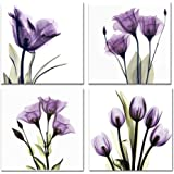 The Decor Shop - Canvas Prints Purple Flower Photos on Canvas Wall Art Stretched and Framed Modern Decor Paintings Giclee Artwork for Home Decoration 12x12inch