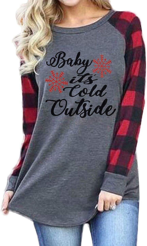 Plus Size Baby It's Cold Outside Christmas T Shirt Women's Plaid Splicing Long Raglan Tops Blouses