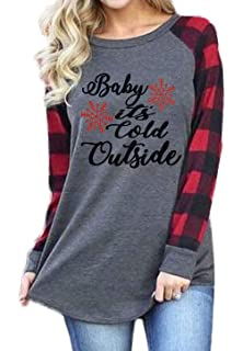 1b53d1fb684 Plus Size Baby It s Cold Outside Christmas T Shirt Women s Plaid Splicing  Long Raglan Tops Blouses