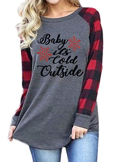 Plus Size Baby It S Cold Outside Christmas T Shirt Women S Plaid