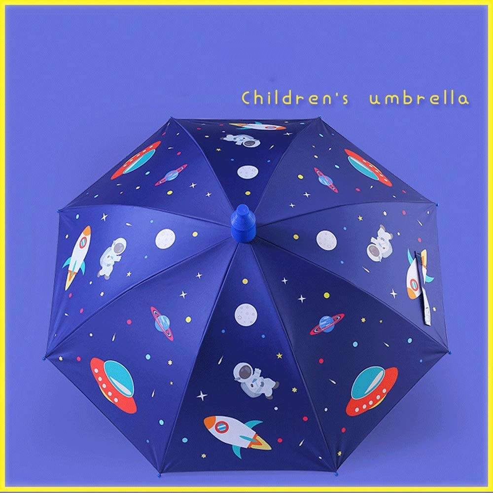 Liweibao Cartoon Universe Rain/&UV Protection Colorful Auto Open Long Handle Straight Childrens Umbrella for Boy Girl Color : Blue, Size : 31.5-Inch 35.4-Inch Or 31.5-Inch