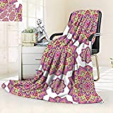 vanfan Silky Soft Plush Warm Blanket Autumn Winter Shabby Chic Lotus Flower Style Meditation Essence Pattern Lime Green Fuchsia Pink White,Silky Soft,Anti-Static,2 Ply Thick Blanket. (60''x36'')