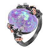Ginger Lyne Collection Henrietta Tree Branch Flower Simulated Fire Opal Ring for Kids Women Elven Promise Rings for Teen Girls Engagement Ring New Arco Stone Simulated Black Fire Opal