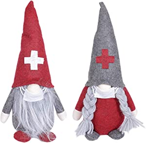 VKTEN 2 Pack Christmas Ornaments Gnome Plush Doll with Mask - Handmade Swedish Santa Elf for Kids- Gnome Christmas Tree Decor for Home, Restaurants, Office, Bar (Red)