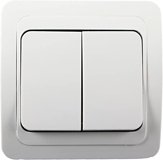 Double Interrupteur Commutateur Interrupteur avec cadre Prise unterputz Blanc