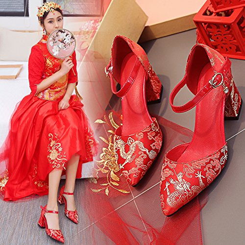 Bride 5 Shoes 8 Prom Show 5Cm Heel Shoes Heel Wedding Shoes Red Style Shoes Sandals Heeled National Women'S Coarse VIVIOO Style High Wind Chinese UnzRn
