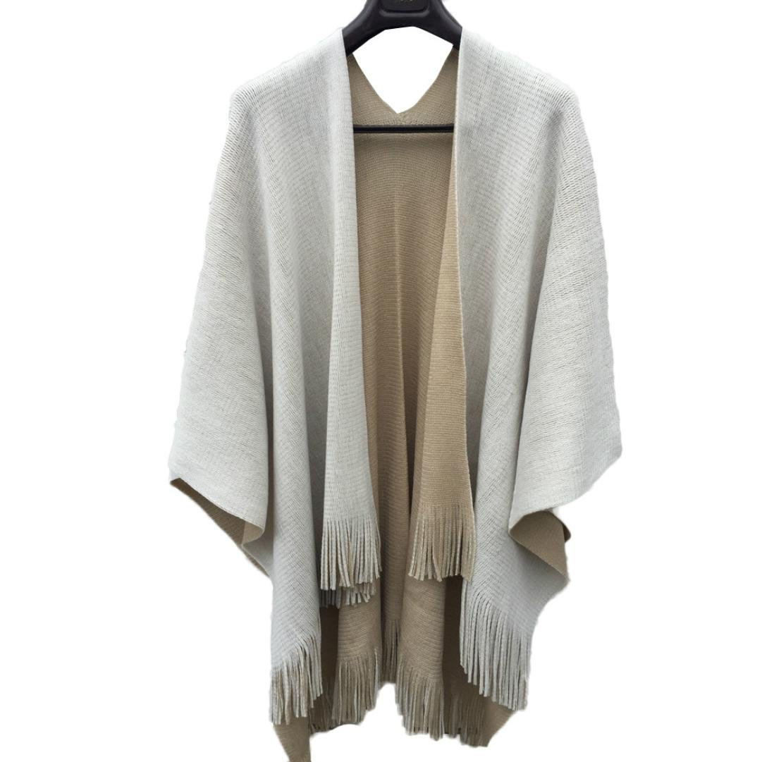 Hot Sales FimKaul Women Knitted Cashmere Poncho Capes Shawl Cardigans Sweater Coat (Beige)