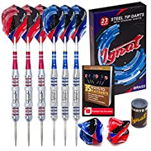 Ignat Games Professional Darts Set for 2 Players - Steel Tip Darts with Aluminum Shafts and 2 Different Style Flights + Darts Sharpener + Case