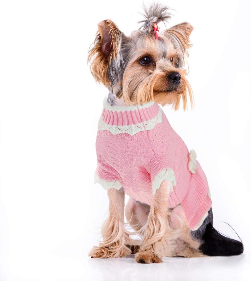 Winter Warm Rollkragen Hundepulli Mamen Hundemantel Joytale Rosa Blume Hundepullover