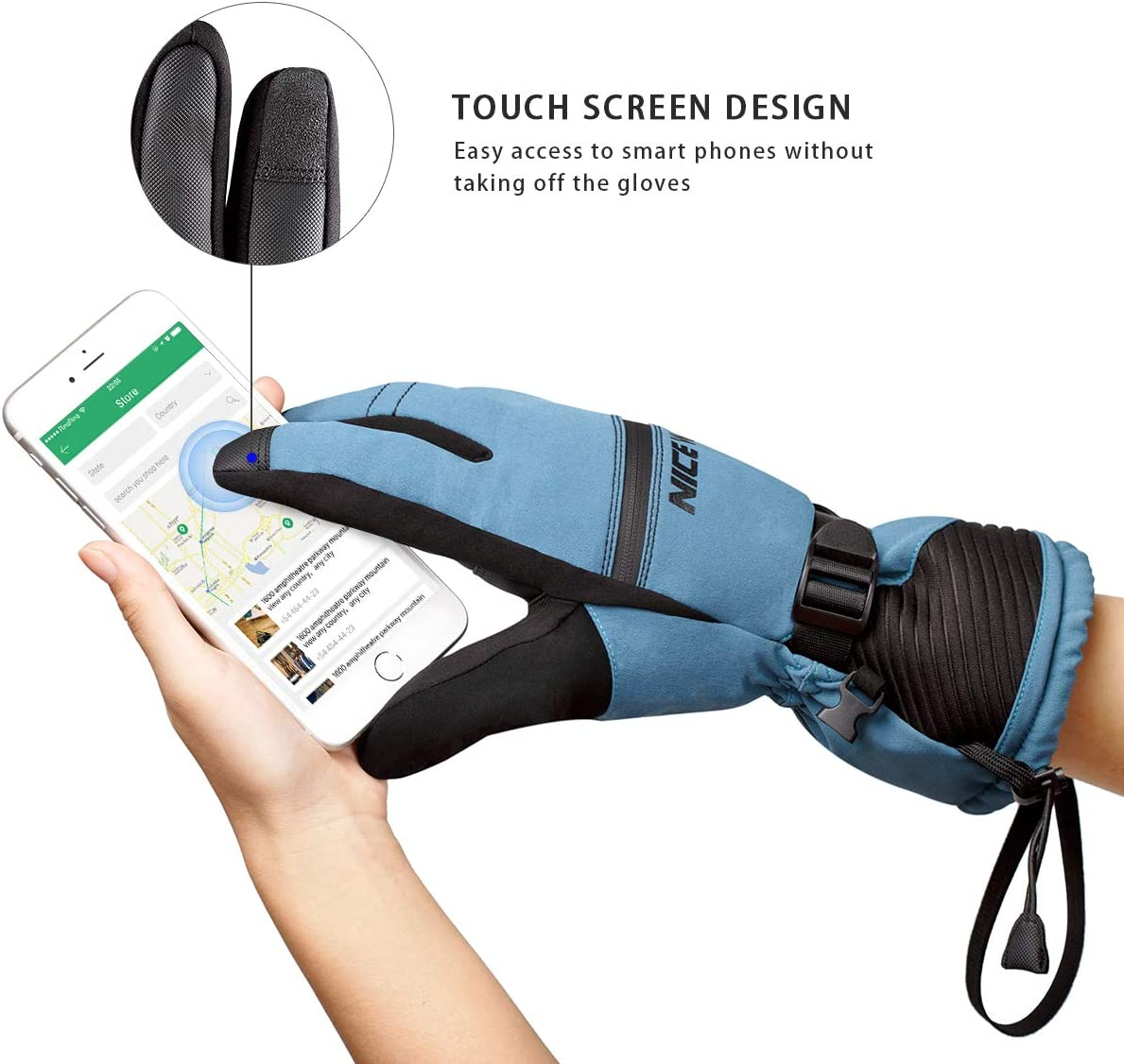 Antivento Touchscreen di Progettazione per Outdoor LOHOTEK Guanti Invernali di Sci per Uomini e Donne