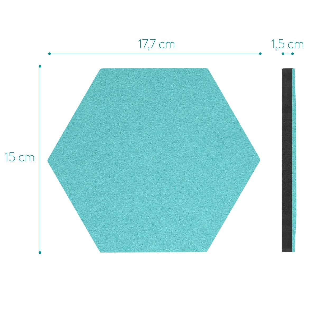 Lot 6x Panneau daffichage Mural Adh/ésif avec 10x Punaise Navaris Tableau Hexagone en Feutre 20 x 17 cm D/écoration Photo Note Gris fonc/é