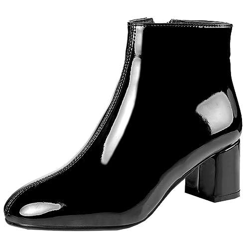 Artfaerie Damen High Heels Blockabsatz Ankle Boots mit