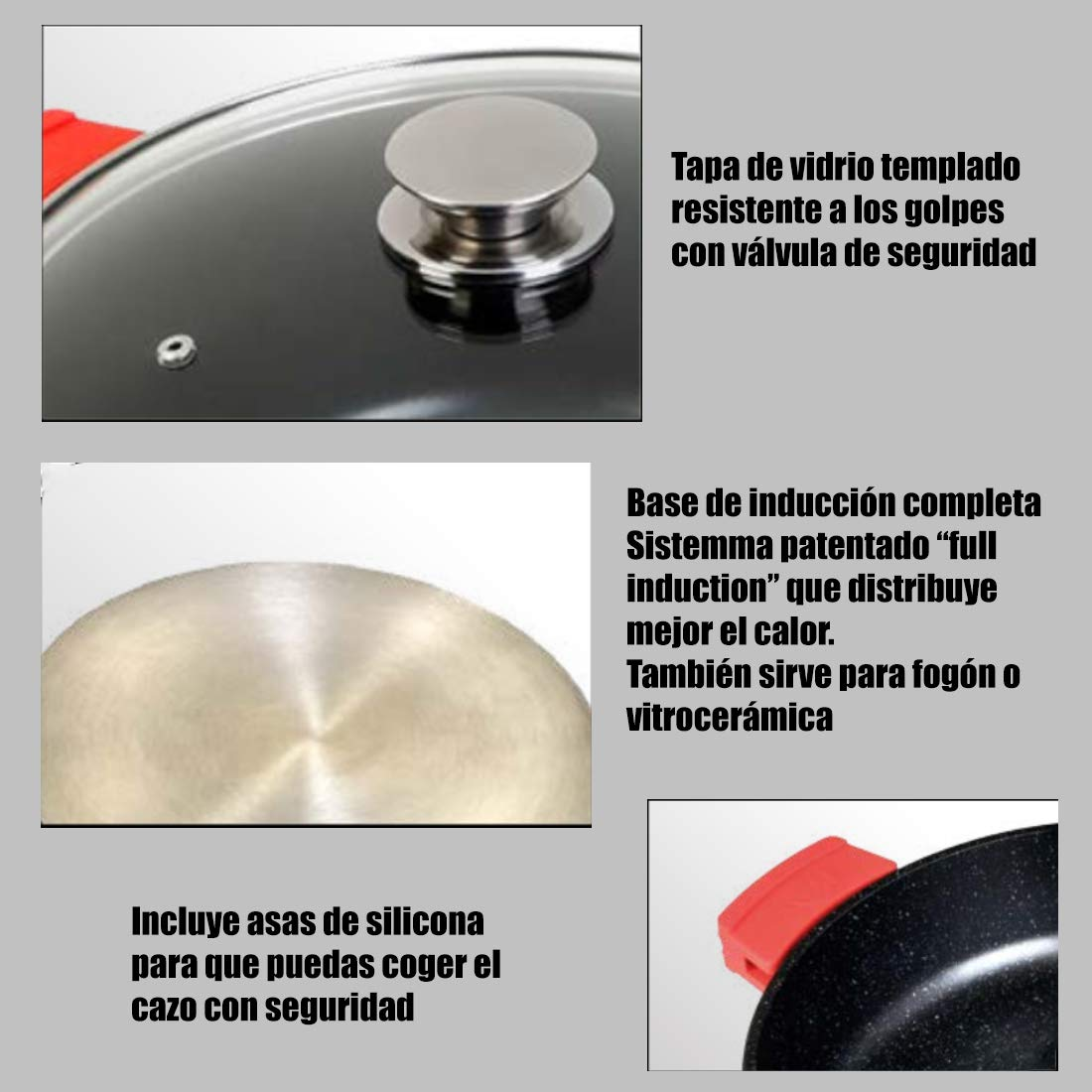 WeCook 10137 Cazuela de Cocina Inducción Profesional Grande, Tapa de Cristal, Cacerola Antiadherente, Libre de BPA, 36 cm, Aluminio Forjado
