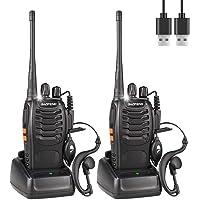 BaoFeng 888s Talkie Walkie Longue Distance Two Way Radio USB Rechargeables avec des écouteurs Originaux Construit en Torche LED pour Adulte (2 pcs)