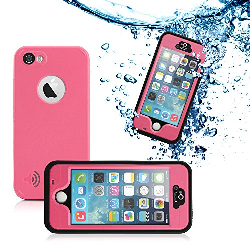GEARONIC TM New 2016 Durable Waterproof Shockproof Snow DirtProof Fingerprint Scanner Full Case Cover For Apple iPhone SE 5 5S - Pink