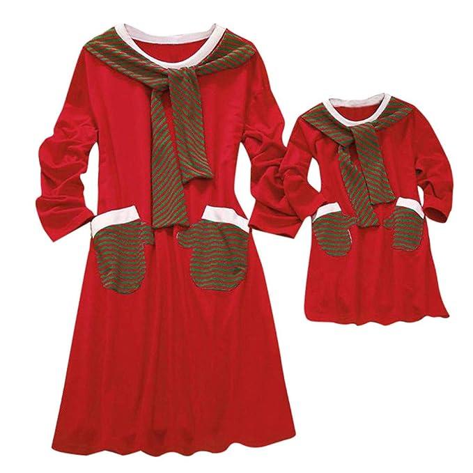 Ansenesna Familien Outfit Weihnachten Mutter Tochter Rot Knielang Locker Elegant Kleid Langarm Freizeit Soft Kleidung