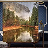 What Is the Width of a California King Bed Wanranhome Custom-made shower curtain Farm HouseTrees Reflections on Merced River Yosemite Valley National Park California in the Fall Green For Bathroom Decoration 72 x 96 inches