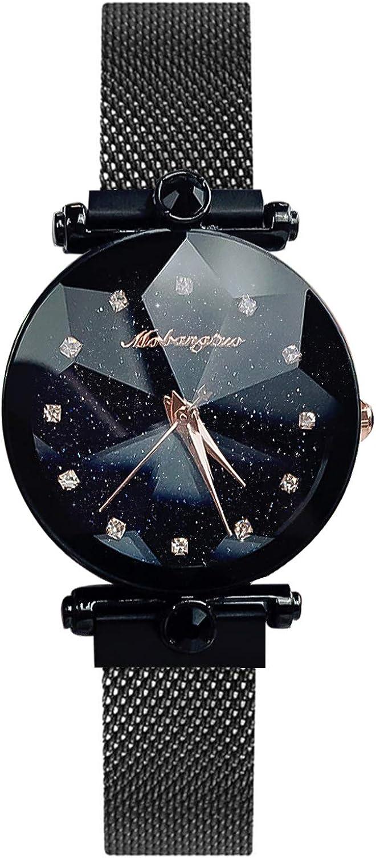 RORIOS Mujer Relojes de Pulsera Brillante Cielo Estrellado Mesh Bracelet Band Diamante Simulado Dial Relojes de Mujer Women Watch