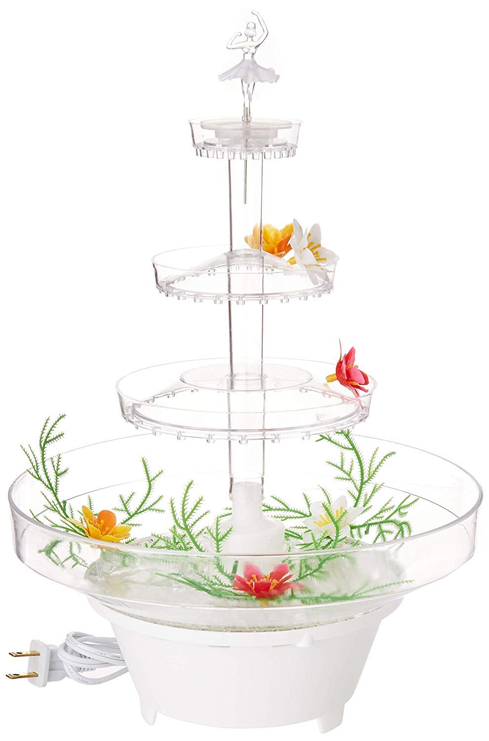 Lighted Plastic Water Fountain for Weddings, Garden, Home, Office, or Cake Centerpiece