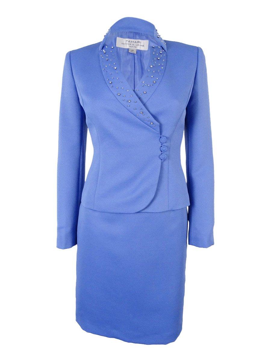 Tahari ASL Women's Petite Eason Skirt Suit, Periwinkle, 0/Petite
