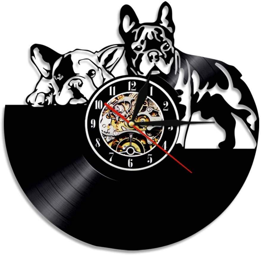 EOXO Relojes De Pared Adhesivos 1 Bulldog Dog Vinyl Record Reloj De Pared Diseño Moderno Animal Pet Puppy Reloj De Pared Relogio De Parede Bulldog Lovers Gift