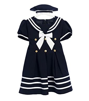 136586dff Amazon.com: Classykidzshop Navy Girl Sailor Dress with White Strip: Infant  And Toddler Playwear Dresses: Clothing