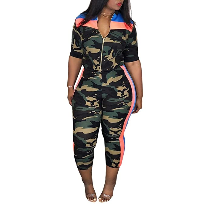 9e6423b85 Women Plus Size Camouflage Half Sleeve Casual Set, Women Top and Pants Set  Two Piece
