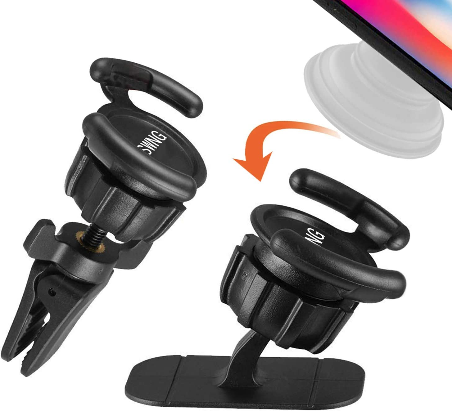 2 Pack Universal Air Vent Car Mount and Dashboard Sticker Holder KSWNG 360/° Rotation Clip Car Mount Phone Holder with Adjustable Switch Lock for Smartphones GPS Navigation