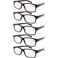 Eyekepper 5-pack Spring Hinges Vintage Reading Glasses Men Readers Black +2.0