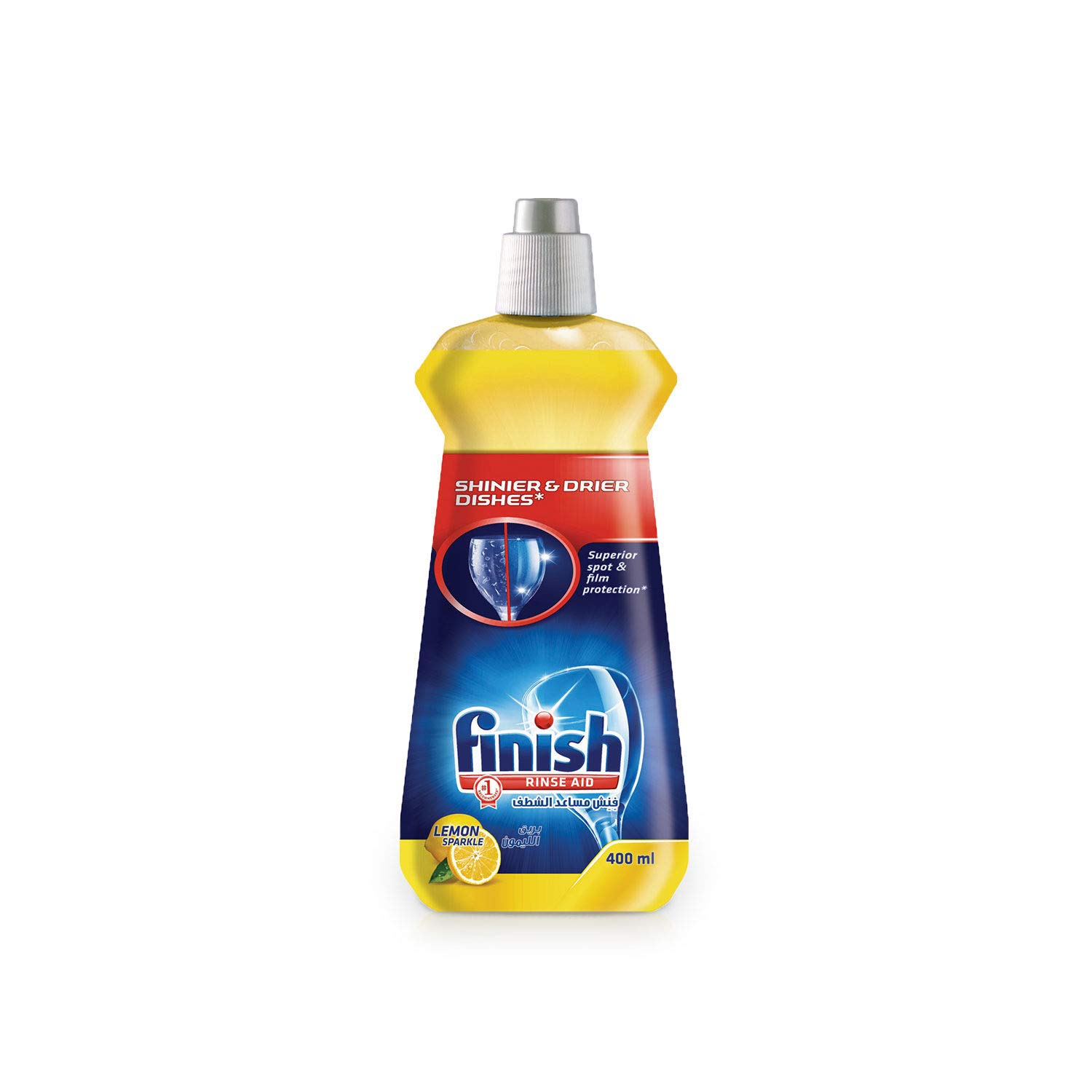 Finish Rinse Aid Shinier and drier dishes, Lemon Sparkle 400 ml (Pack of 6)