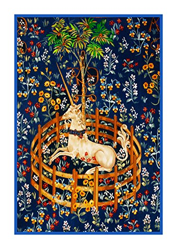 Orenco Originals Unicorn in Captivity Navy Blue Background Inspired The Hunt The Unicorn Tapestries Counted Cross Stitch Pattern